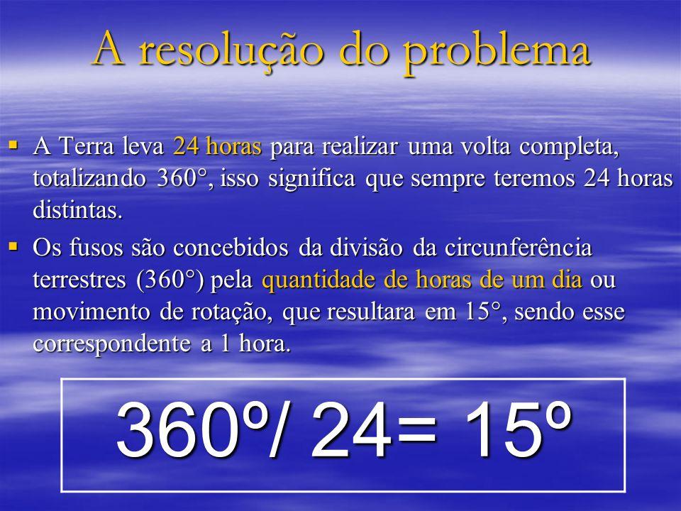 A resolução do problema A Terra leva 24 horas para realizar uma volta completa, totalizando 360°, isso significa que sempre teremos 24 horas distintas