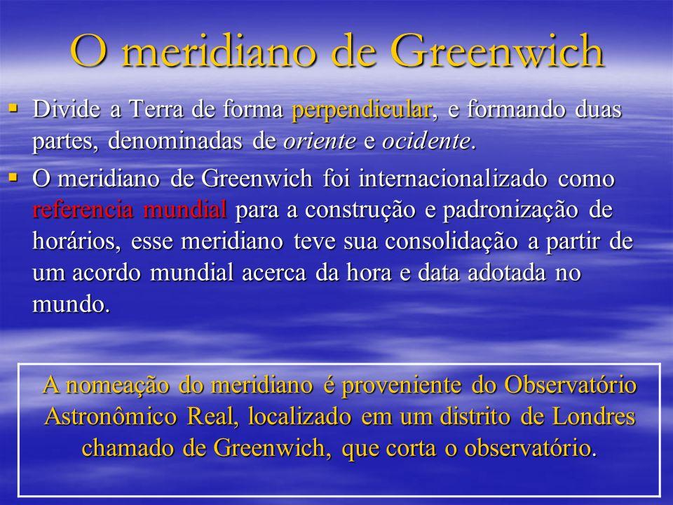 O meridiano de Greenwich Divide a Terra de forma perpendicular, e formando duas partes, denominadas de oriente e ocidente. Divide a Terra de forma per