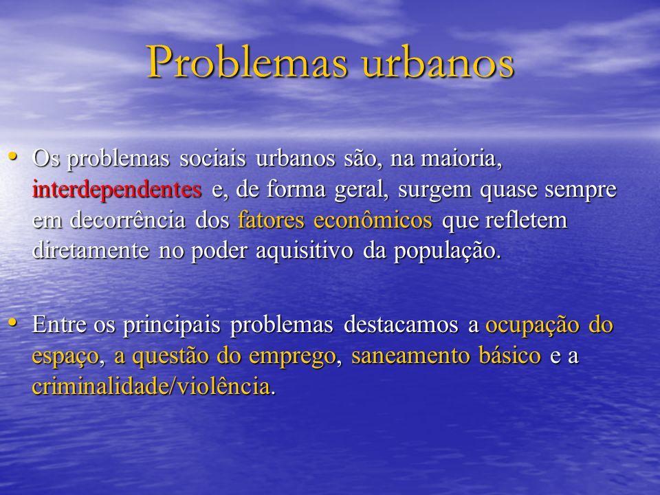 Problemas urbanos Os problemas sociais urbanos são, na maioria, interdependentes e, de forma geral, surgem quase sempre em decorrência dos fatores eco