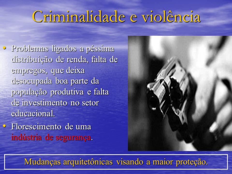 Criminalidade e violência Problemas ligados a péssima distribuição de renda, falta de empregos, que deixa desocupada boa parte da população produtiva
