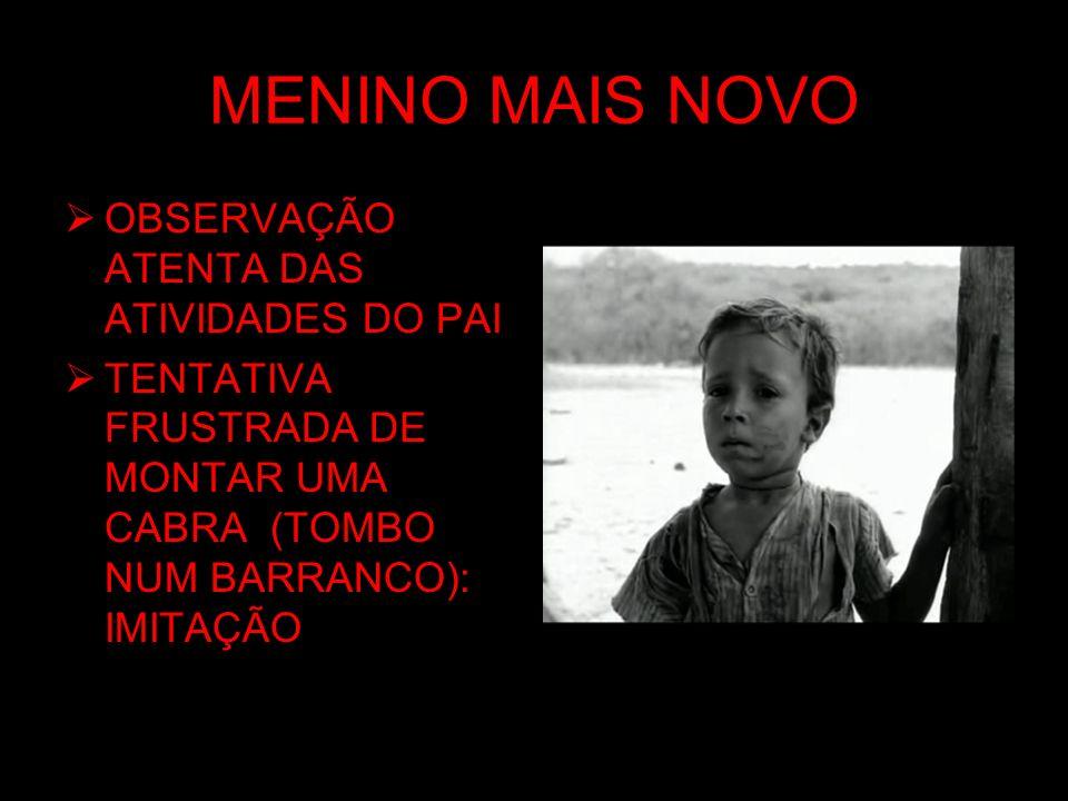 MENINO MAIS NOVO OBSERVAÇÃO ATENTA DAS ATIVIDADES DO PAI TENTATIVA FRUSTRADA DE MONTAR UMA CABRA (TOMBO NUM BARRANCO): IMITAÇÃO