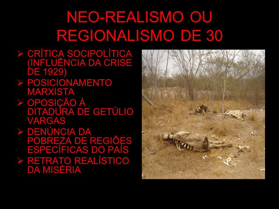 NEO-REALISMO OU REGIONALISMO DE 30 CRÍTICA SOCIPOLÍTICA (INFLUÊNCIA DA CRISE DE 1929) POSICIONAMENTO MARXISTA OPOSIÇÃO À DITADURA DE GETÚLIO VARGAS DE