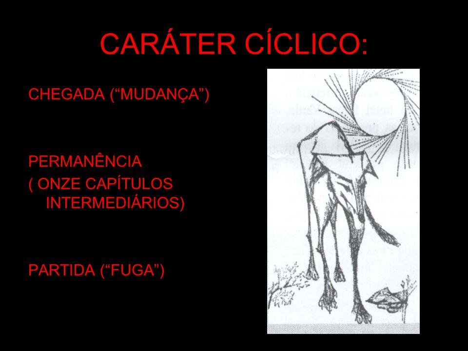 CARÁTER CÍCLICO: CHEGADA (MUDANÇA) PERMANÊNCIA ( ONZE CAPÍTULOS INTERMEDIÁRIOS) PARTIDA (FUGA)