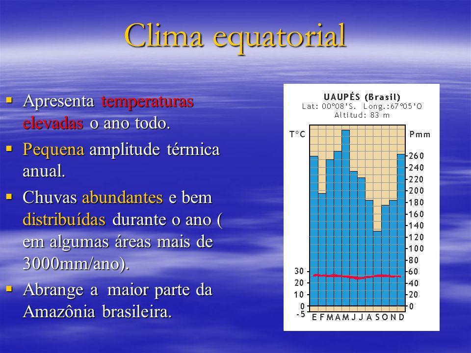 Clima equatorial Apresenta temperaturas elevadas o ano todo. Apresenta temperaturas elevadas o ano todo. Pequena amplitude térmica anual. Pequena ampl