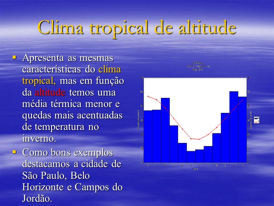 Clima tropical de altitude Apresenta as mesmas características do clima tropical, mas em função da altitude temos uma média térmica menor e quedas mai