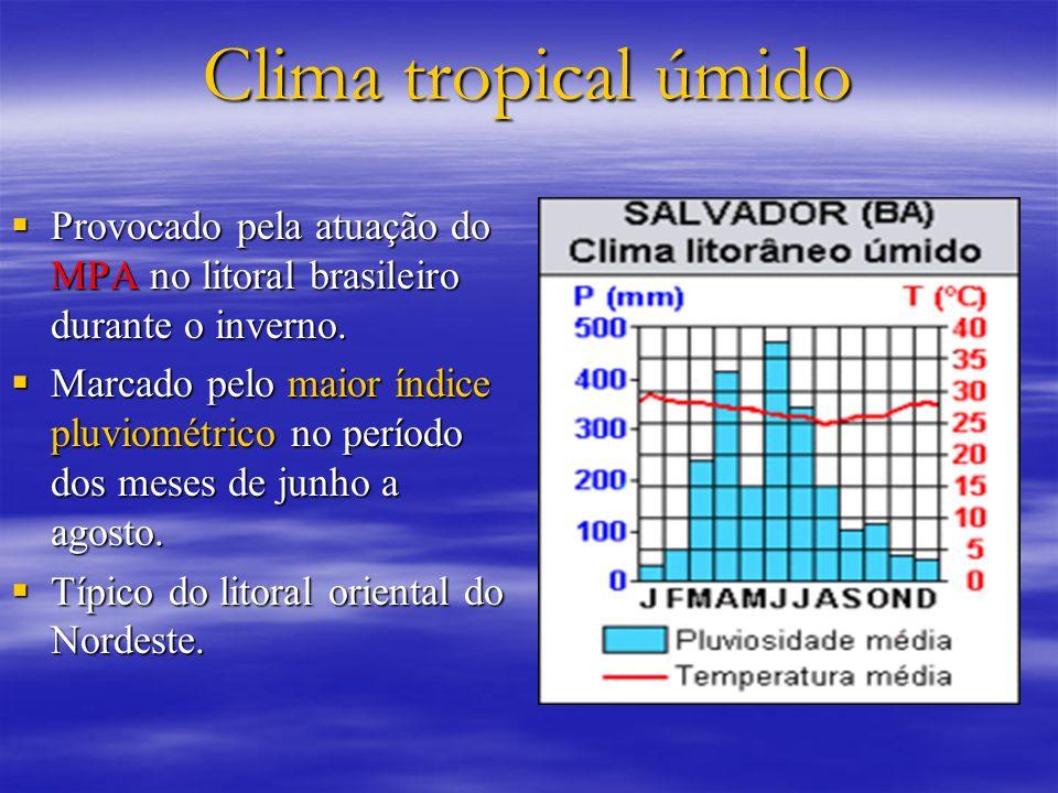 Clima tropical úmido Provocado pela atuação do MPA no litoral brasileiro durante o inverno. Provocado pela atuação do MPA no litoral brasileiro durant