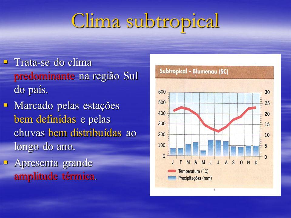 Clima subtropical Trata-se do clima predominante na região Sul do país. Trata-se do clima predominante na região Sul do país. Marcado pelas estações b