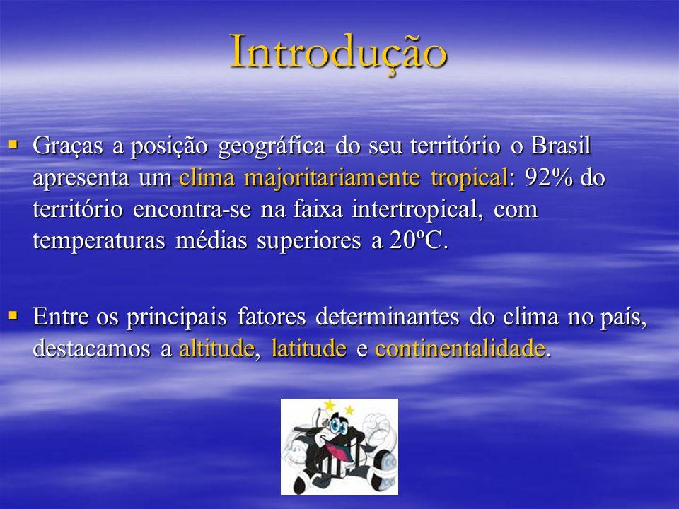 Introdução Graças a posição geográfica do seu território o Brasil apresenta um clima majoritariamente tropical: 92% do território encontra-se na faixa