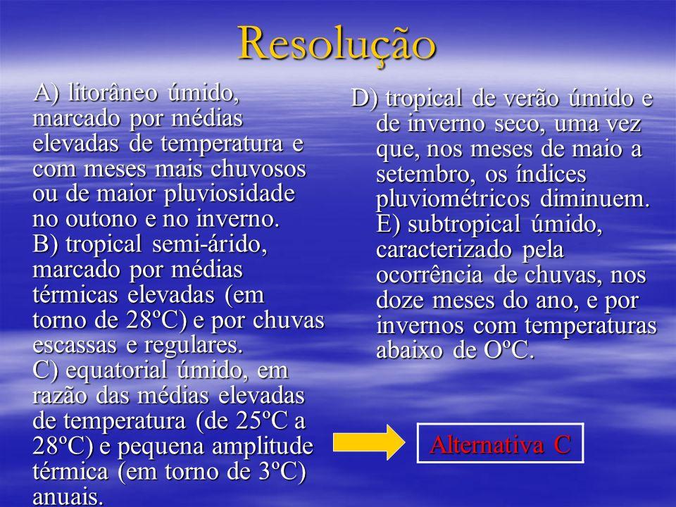 Resolução A) litorâneo úmido, marcado por médias elevadas de temperatura e com meses mais chuvosos ou de maior pluviosidade no outono e no inverno. B)