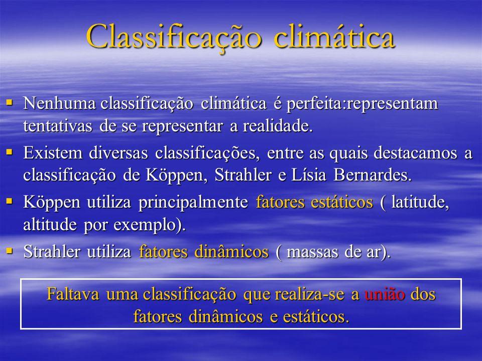 Classificação climática Nenhuma classificação climática é perfeita:representam tentativas de se representar a realidade. Nenhuma classificação climáti