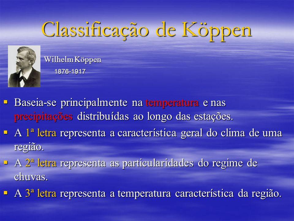 Classificação de Köppen Wilhelm Köppen Wilhelm Köppen 1876-1917 1876-1917 Baseia-se principalmente na temperatura e nas precipitações distribuídas ao