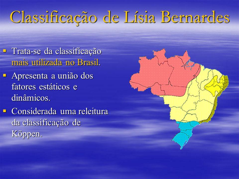 Classificação de Lísia Bernardes Trata-se da classificação mais utilizada no Brasil. Trata-se da classificação mais utilizada no Brasil. Apresenta a u