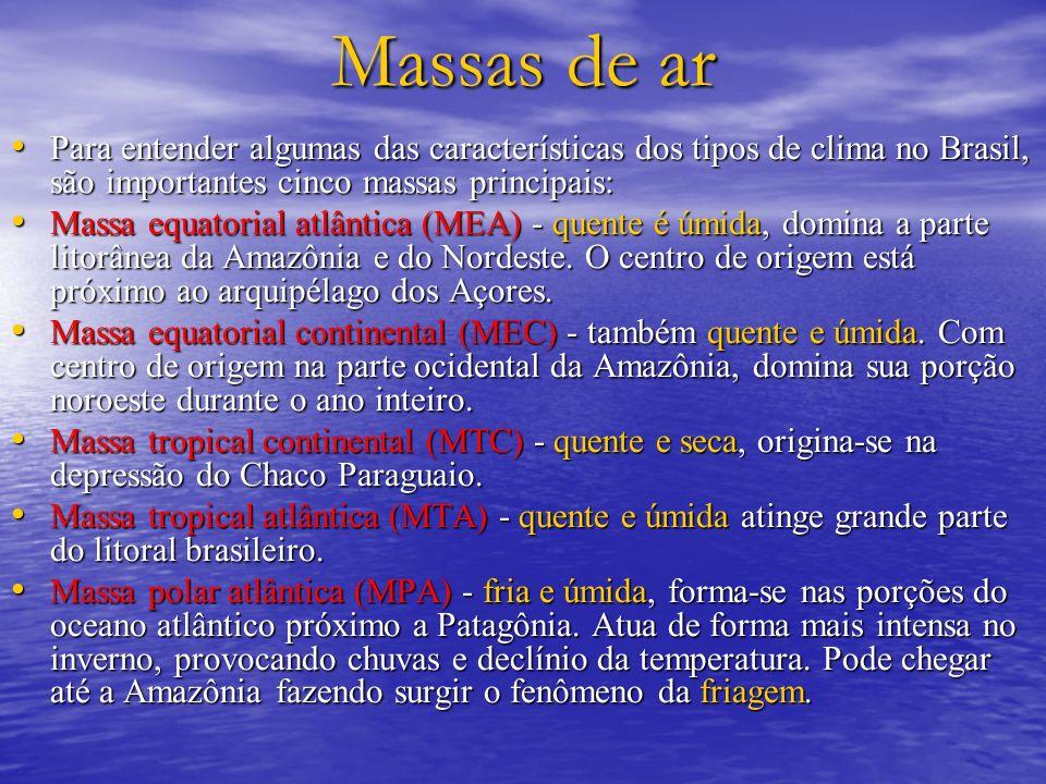 Massas de ar Para entender algumas das características dos tipos de clima no Brasil, são importantes cinco massas principais: Para entender algumas da