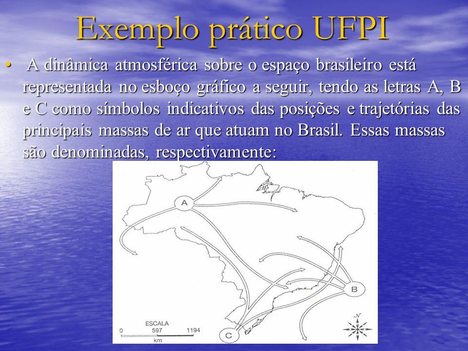 Exemplo prático UFPI A dinâmica atmosférica sobre o espaço brasileiro está representada no esboço gráfico a seguir, tendo as letras A, B e C como símb
