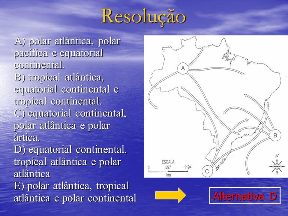 Resolução A) polar atlântica, polar pacífica e equatorial continental. B) tropical atlântica, equatorial continental e tropical continental. C) equato