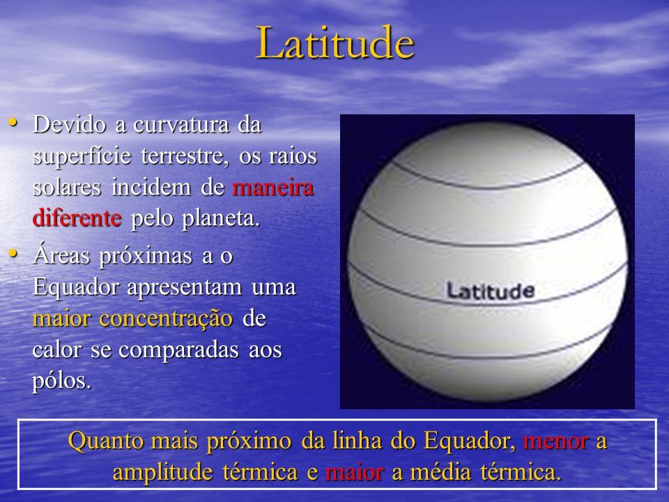 Latitude Devido a curvatura da superfície terrestre, os raios solares incidem de maneira diferente pelo planeta. Devido a curvatura da superfície terr