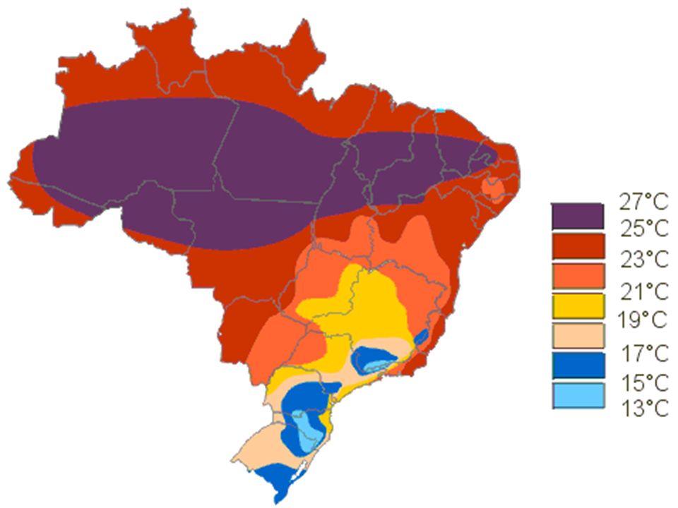 LocalidadeAltitudeLatitude Média térmica anual Belo Horizonte 900M19º5521,8ºC São Lourenço 874M22º0718,2ºC São Paulo 800M23º3217,6ºC Palmas (PR) 1079M26º2915,2ºC