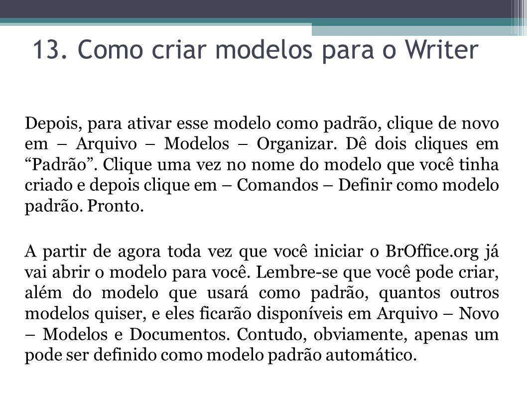 13. Como criar modelos para o Writer Depois, para ativar esse modelo como padrão, clique de novo em – Arquivo – Modelos – Organizar. Dê dois cliques e