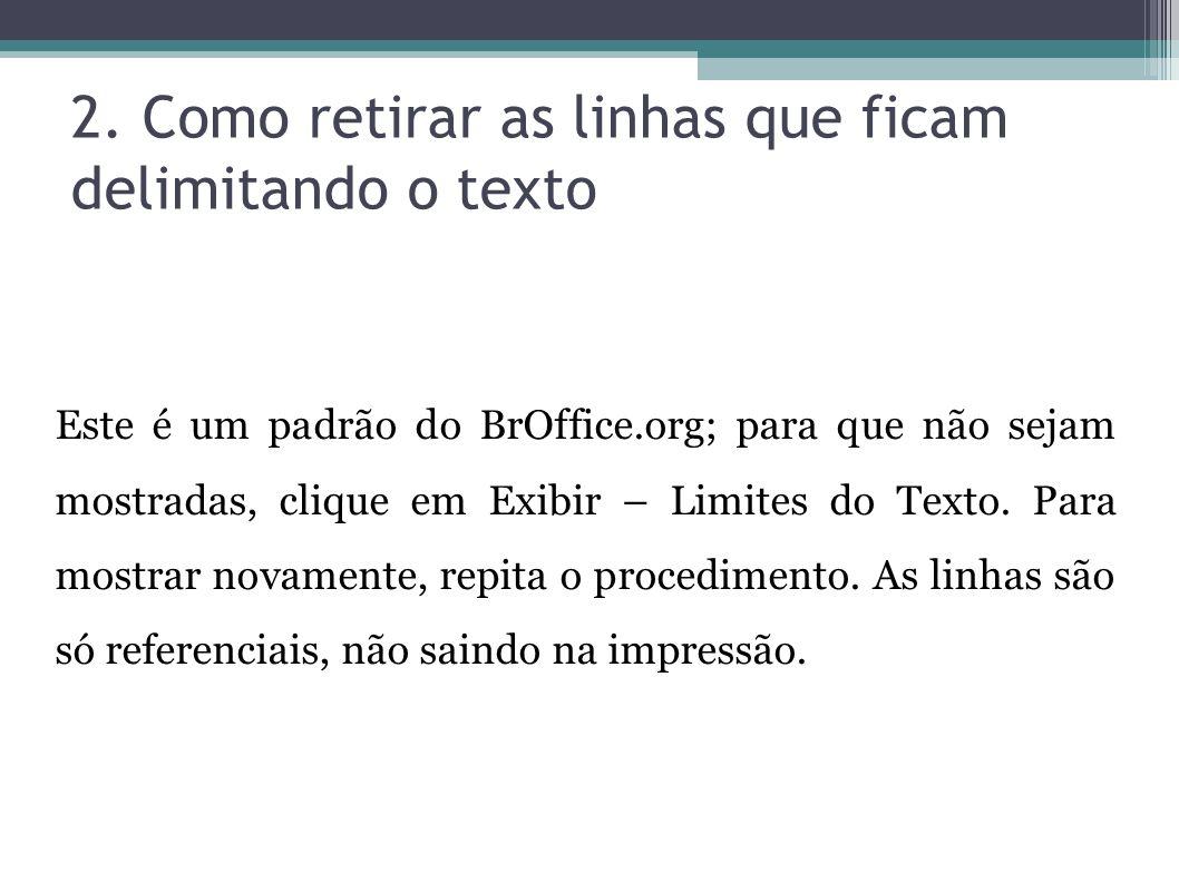 2. Como retirar as linhas que ficam delimitando o texto Este é um padrão do BrOffice.org; para que não sejam mostradas, clique em Exibir – Limites do