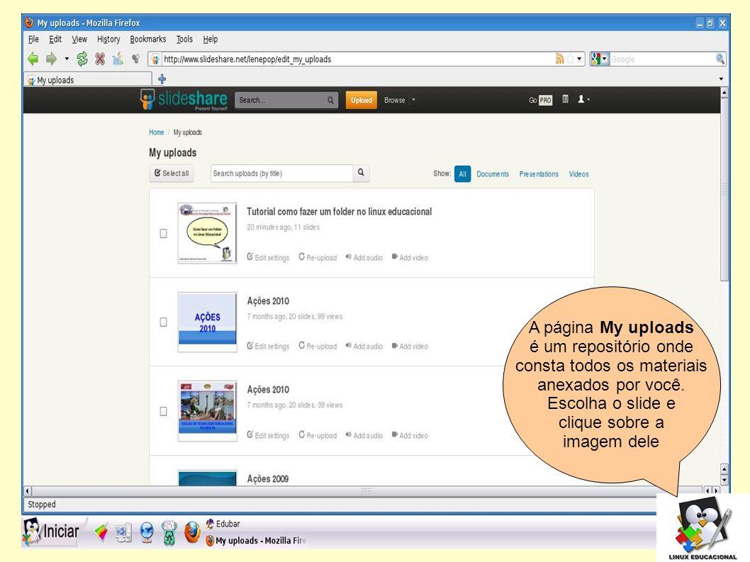Agora clique em Embed para obter os códigos para blog.