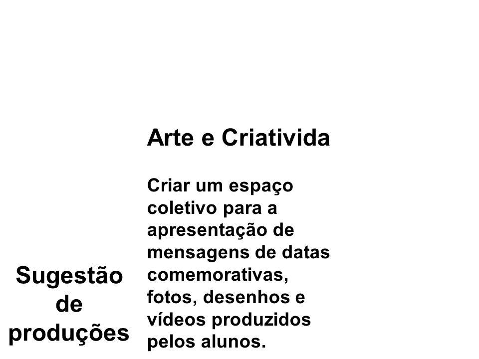 Sugestão de produções Análise de obras de arte ou literária Colocar imagens relacionadas a um determinado conteúdo: obras de grandes pintores, imagens do corpo humano, fatos históricos, para que os alunos comentem.