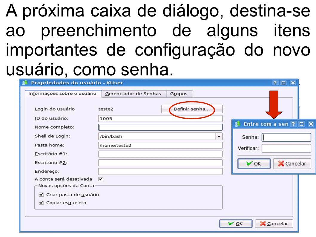 A próxima caixa de diálogo, destina-se ao preenchimento de alguns itens importantes de configuração do novo usuário, como senha.