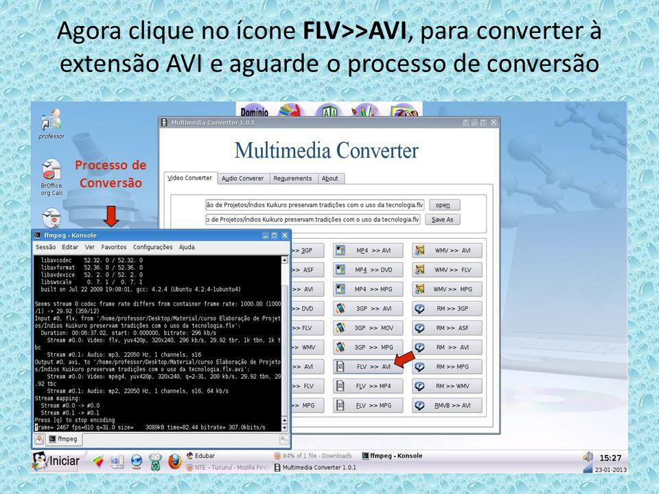 Agora clique no ícone FLV>>AVI, para converter à extensão AVI e aguarde o processo de conversão Processo de Conversão
