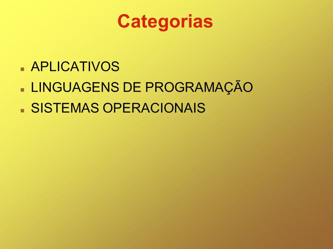 Categorias APLICATIVOS LINGUAGENS DE PROGRAMAÇÃO SISTEMAS OPERACIONAIS