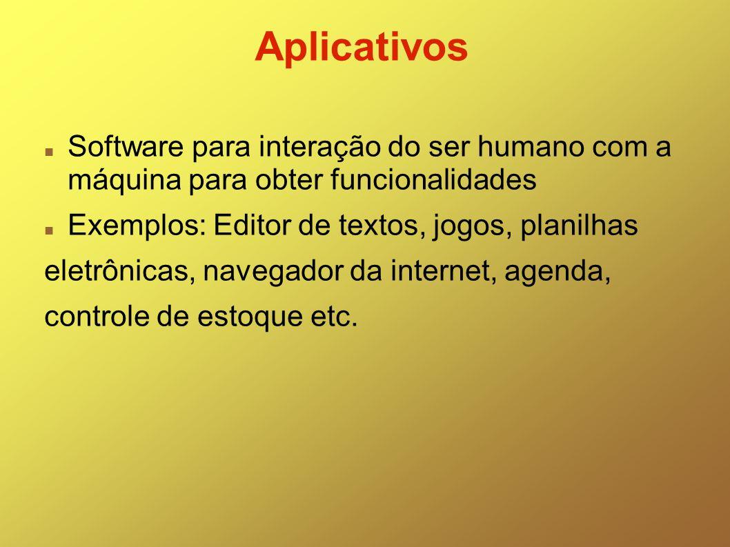 Aplicativos Software para interação do ser humano com a máquina para obter funcionalidades Exemplos: Editor de textos, jogos, planilhas eletrônicas, n