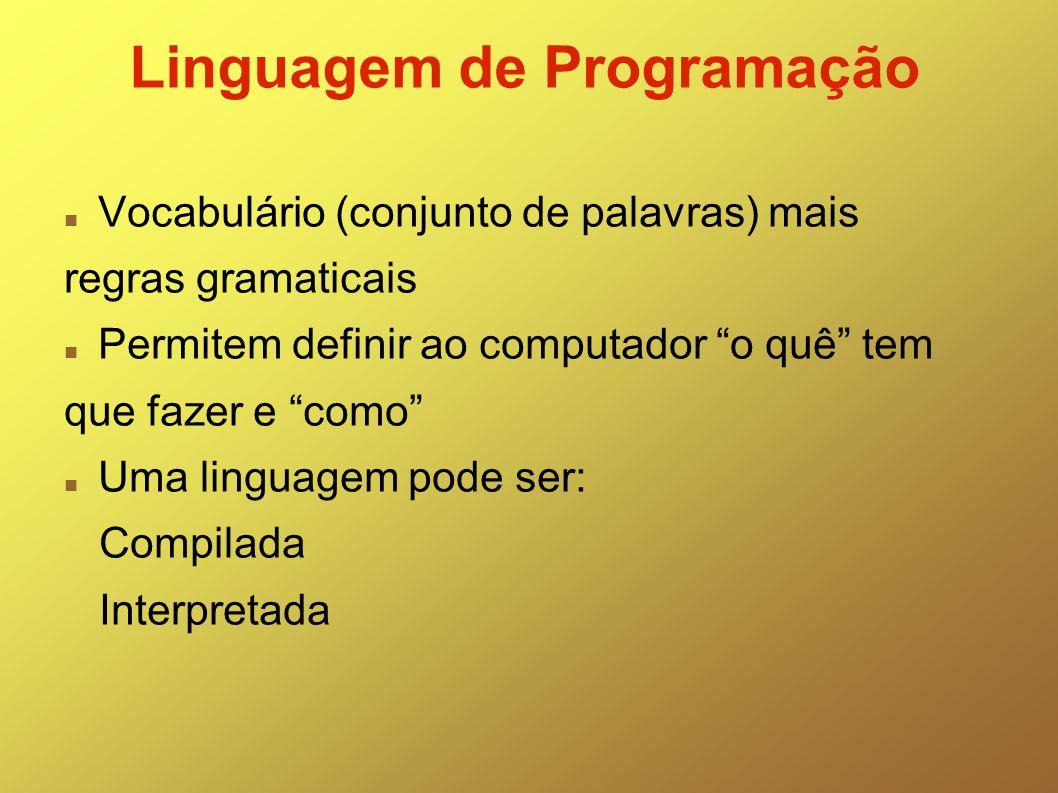Linguagem de Programação Vocabulário (conjunto de palavras) mais regras gramaticais Permitem definir ao computador o quê tem que fazer e como Uma ling