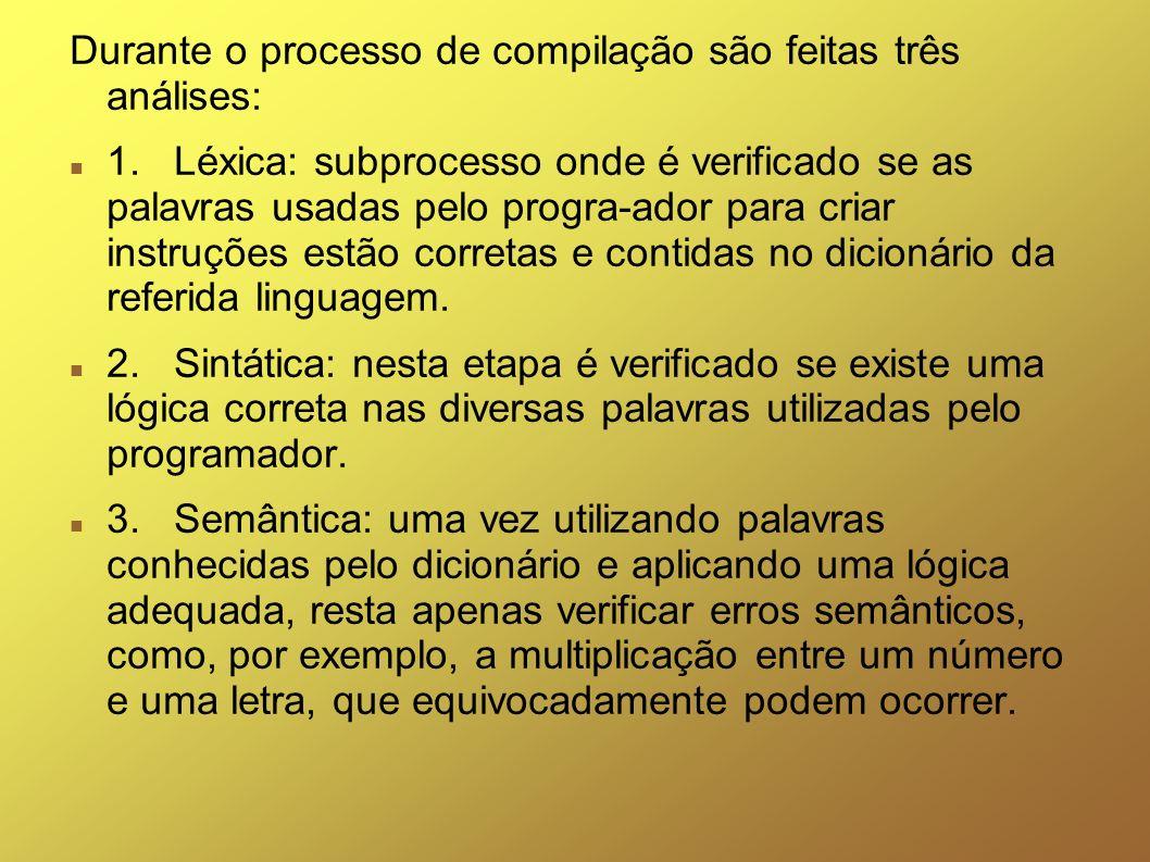 Durante o processo de compilação são feitas três análises: 1. Léxica: subprocesso onde é verificado se as palavras usadas pelo progra-ador para criar