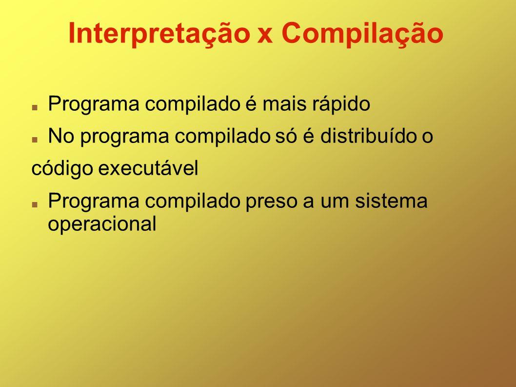Interpretação x Compilação Programa compilado é mais rápido No programa compilado só é distribuído o código executável Programa compilado preso a um s