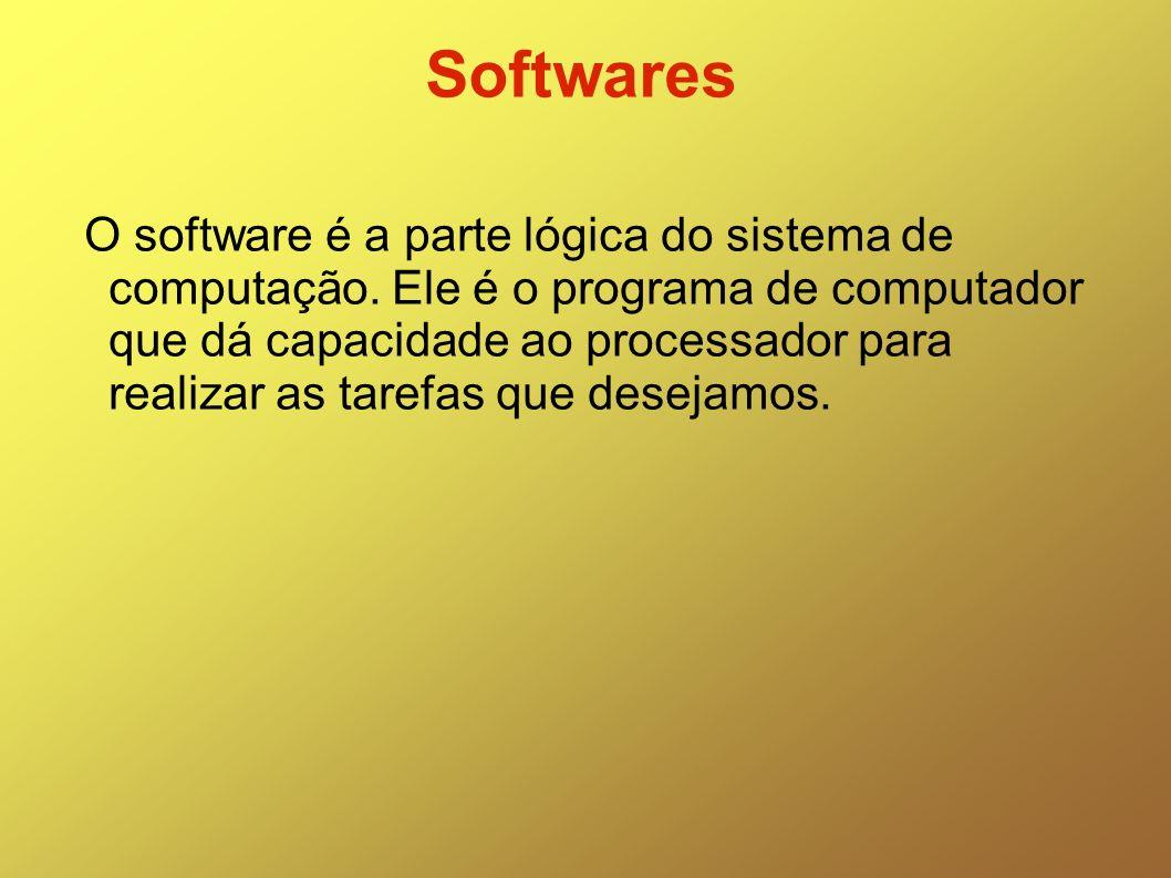 Softwares O software é a parte lógica do sistema de computação. Ele é o programa de computador que dá capacidade ao processador para realizar as taref