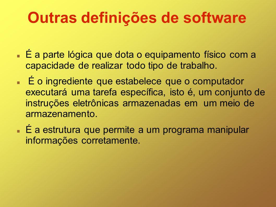Outras definições de software É a parte lógica que dota o equipamento físico com a capacidade de realizar todo tipo de trabalho. É o ingrediente que e