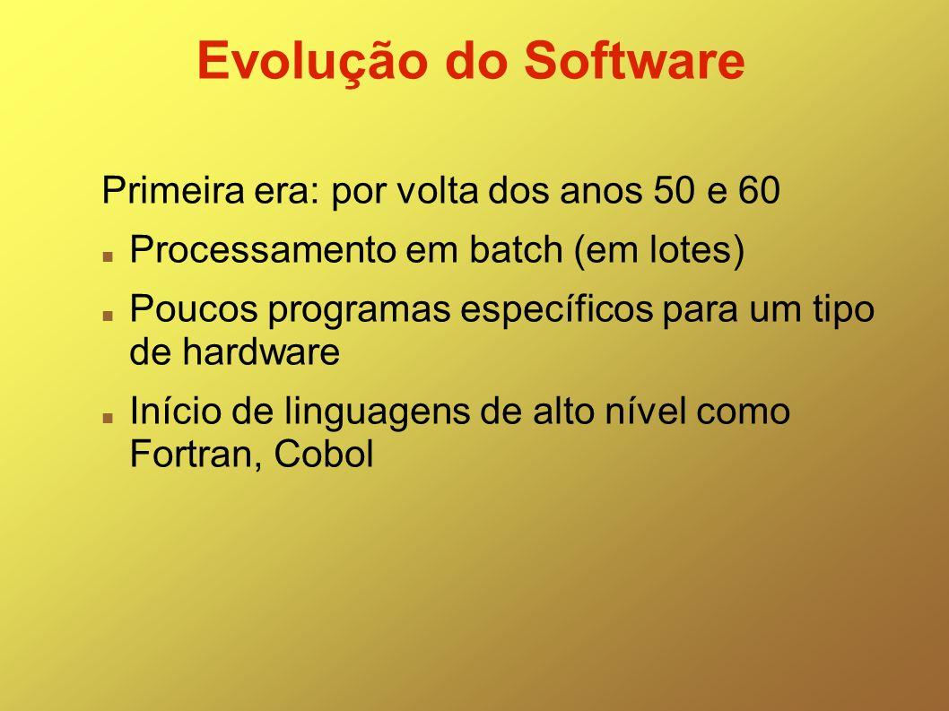 Evolução do Software Primeira era: por volta dos anos 50 e 60 Processamento em batch (em lotes) Poucos programas específicos para um tipo de hardware