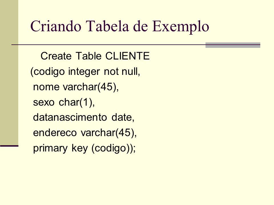 Criando Tabela de Exemplo Create Table CLIENTE (codigo integer not null, nome varchar(45), sexo char(1), datanascimento date, endereco varchar(45), pr