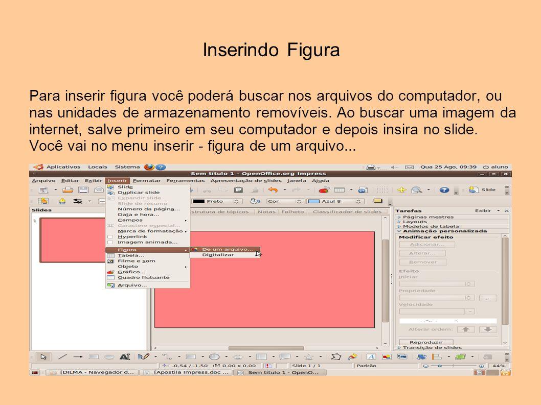 Inserindo Figura Para inserir figura você poderá buscar nos arquivos do computador, ou nas unidades de armazenamento removíveis. Ao buscar uma imagem