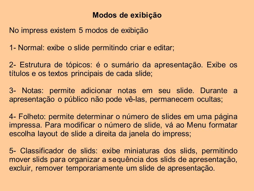 Modos de exibição No impress existem 5 modos de exibição 1- Normal: exibe o slide permitindo criar e editar; 2- Estrutura de tópicos: é o sumário da a