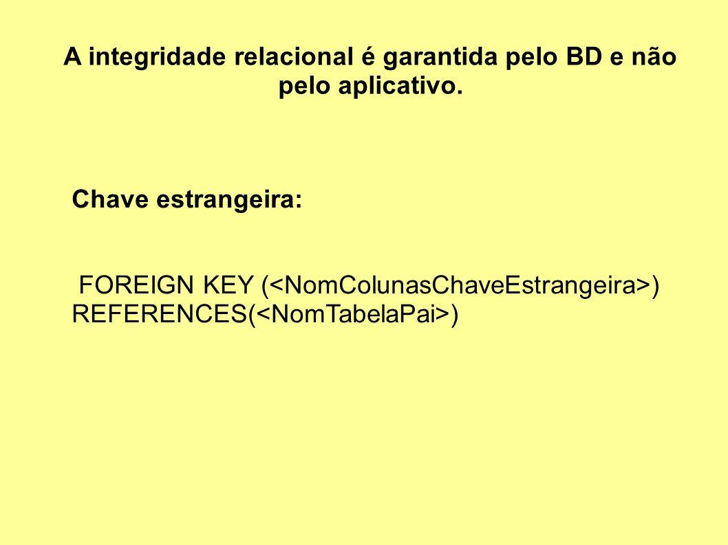 A integridade relacional é garantida pelo BD e não pelo aplicativo. Chave estrangeira: FOREIGN KEY ( ) REFERENCES( )