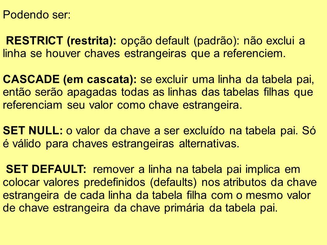 Podendo ser: RESTRICT (restrita): opção default (padrão): não exclui a linha se houver chaves estrangeiras que a referenciem. CASCADE (em cascata): se