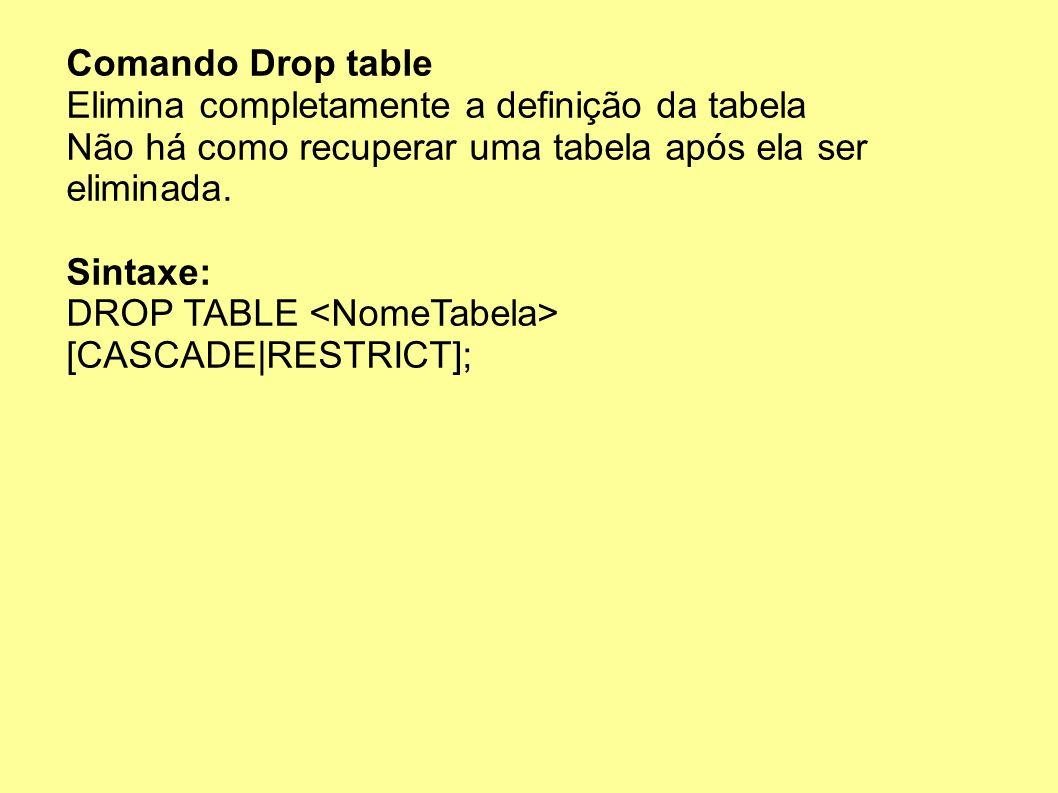 Comando Drop table Elimina completamente a definição da tabela Não há como recuperar uma tabela após ela ser eliminada. Sintaxe: DROP TABLE [CASCADE R