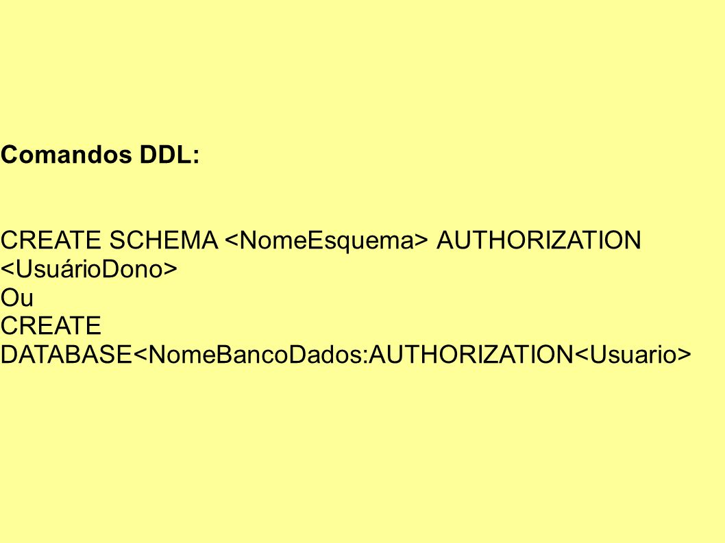 Comandos DDL: CREATE SCHEMA AUTHORIZATION Ou CREATE DATABASE