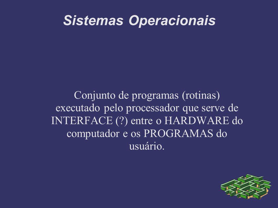 Conjunto de programas (rotinas) executado pelo processador que serve de INTERFACE ( ) entre o HARDWARE do computador e os PROGRAMAS do usuário.