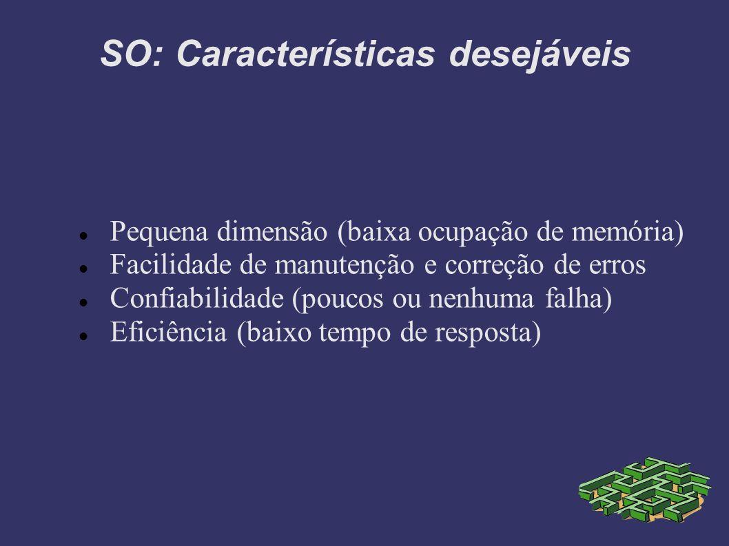 SO: Características desejáveis Pequena dimensão (baixa ocupação de memória) Facilidade de manutenção e correção de erros Confiabilidade (poucos ou nenhuma falha) Eficiência (baixo tempo de resposta)