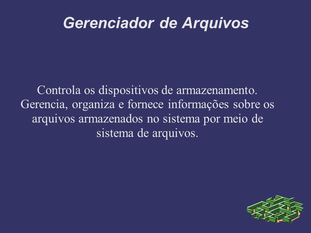 Gerenciador de Arquivos Controla os dispositivos de armazenamento.
