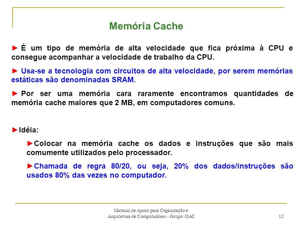 Material de Apoio para Organização e Arquitetura de Computadores - Grupo OAC 12 Memória Cache É um tipo de memória de alta velocidade que fica próxima à CPU e consegue acompanhar a velocidade de trabalho da CPU.