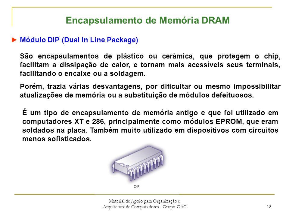 Material de Apoio para Organização e Arquitetura de Computadores - Grupo OAC 18 Encapsulamento de Memória DRAM Módulo DIP (Dual In Line Package) São encapsulamentos de plástico ou cerâmica, que protegem o chip, facilitam a dissipação de calor, e tornam mais acessíveis seus terminais, facilitando o encaixe ou a soldagem.
