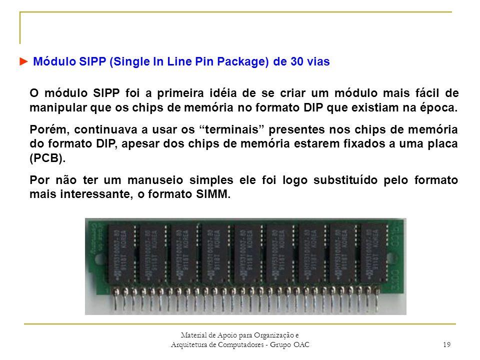 Material de Apoio para Organização e Arquitetura de Computadores - Grupo OAC 19 Módulo SIPP (Single In Line Pin Package) de 30 vias O módulo SIPP foi a primeira idéia de se criar um módulo mais fácil de manipular que os chips de memória no formato DIP que existiam na época.