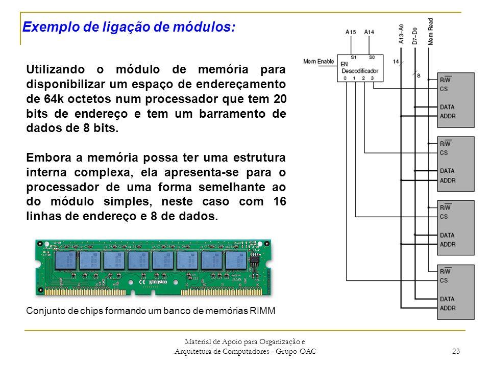 Material de Apoio para Organização e Arquitetura de Computadores - Grupo OAC 23 Utilizando o módulo de memória para disponibilizar um espaço de endereçamento de 64k octetos num processador que tem 20 bits de endereço e tem um barramento de dados de 8 bits.