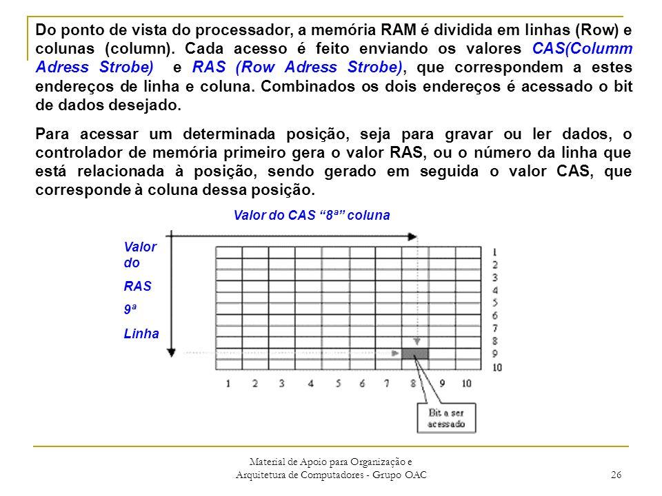 Material de Apoio para Organização e Arquitetura de Computadores - Grupo OAC 26 Valor do CAS 8ª coluna Valor do RAS 9ª Linha Do ponto de vista do processador, a memória RAM é dividida em linhas (Row) e colunas (column).